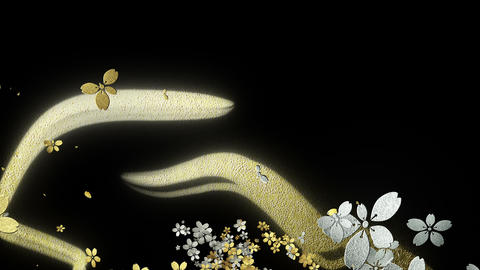 Cherry blossoms with gold and silver texture are blooming along the trajectory 1 CG動画素材