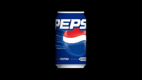 Video footage. Rotating can of PEPSI 3D Full HD on Black Background Animation