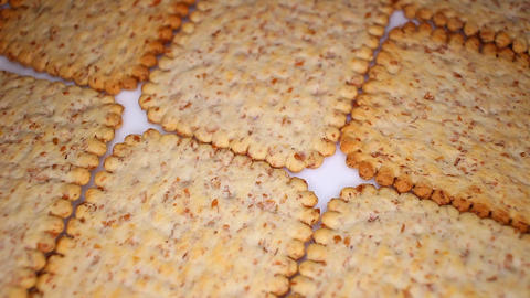 Whole grain healthy cracker biscuit food food closeup texture pattern. Seamless Footage