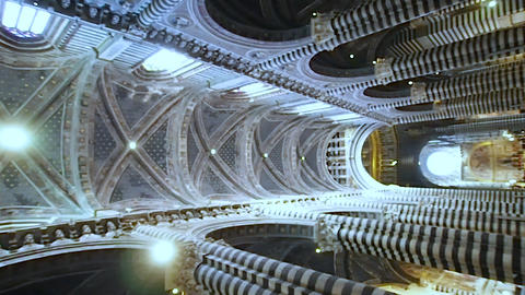 Vertical overwiew of main nave of the Duomo of Siena in 4k Live Action