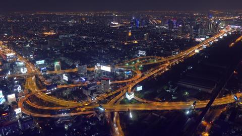 Aerial view on illuminated Bangkok city at night Footage