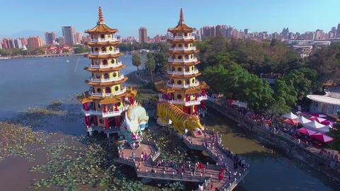 Lotus Pond's Dragon and Tiger Pagodas.Taiwan Footage