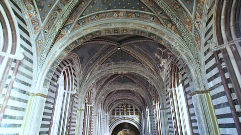 Main nave of the Duomo of Siena in 4k Footage