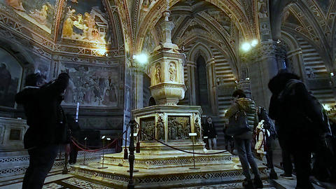 Baptismal font of the Baptistery of Siena in 4k Live Action
