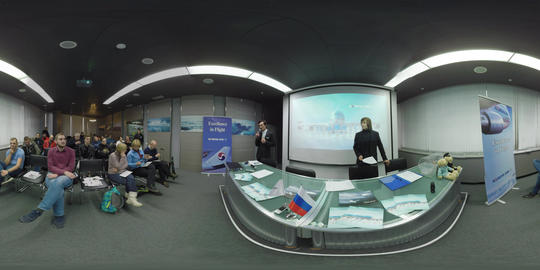 360 VR South Korean Airlines press conference at Sheremetyevo Airport, Moscow GIF