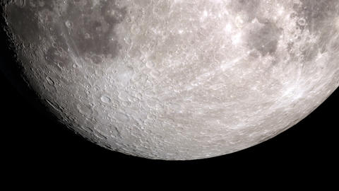 Close up of the Moon. Seamless animation of moon phases with black background. Animation
