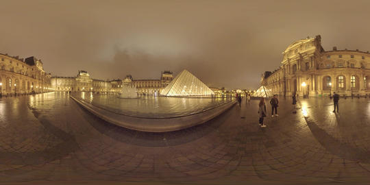 360 VR Louvre courtyard with tourists at night. Visiting Paris, France Live Action