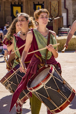 Penedono , Portugal - July 1, 2017 - Female drum corps plays in Medieval fair Photo