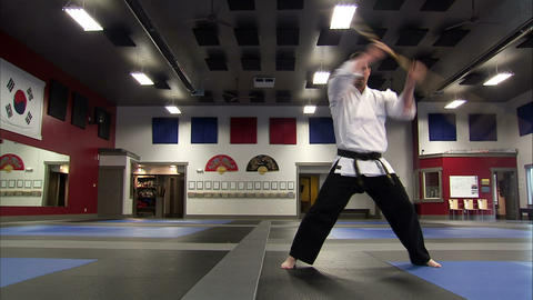 Low angle view of a martial arts instructor using a bo staff Live Action