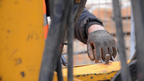 Hand of a worker operates a machine levers of command of deep sea drilling 09 Footage