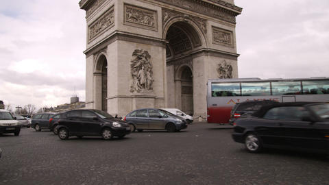 Traffic around the Arc de Triomphe in Paris France Footage