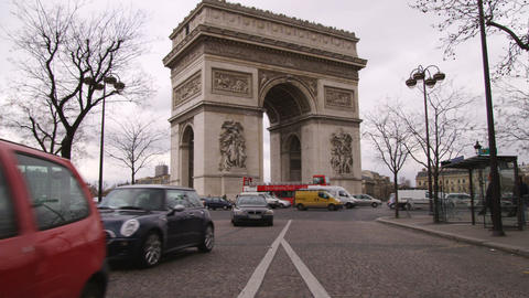 Arc de Triomphe in Paris and the traffic Footage