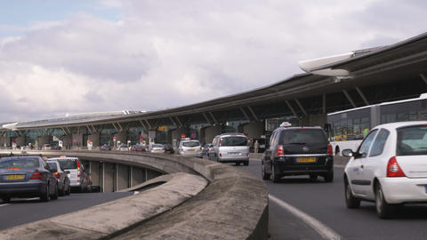 Cars driving towards the Charles de Gaulle Airport in Paris Footage