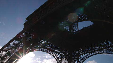 Sun from under the Eiffel Tower Footage