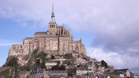 Bright shot of Mont Saint Michel castle and monastery Footage