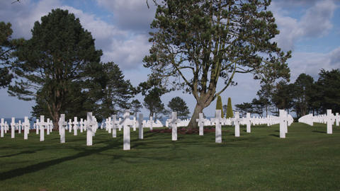 American military white cross cemetery in Normandy France Footage