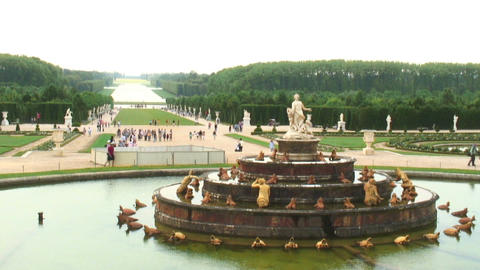 Fountain in a plaza in Versailles France Live Action