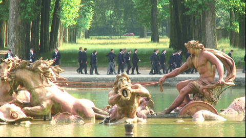 Royalty Free Stock Footage of Close-up of a pond with statues in Versailles, Fra Live Action