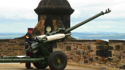One O'Clock Gun being fired at Edinburgh Castle in Scotland Footage