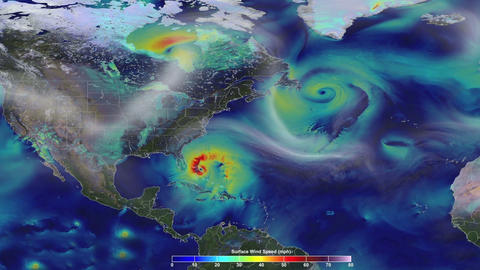 Animation of the speed wind in US. A hurricane approach…, Banco de Videos Animados