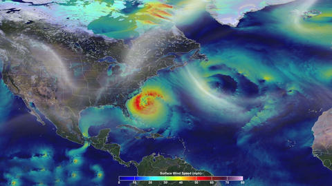 Animation of the speed wind in US. A hurricane approach to the east coast. Videos animados