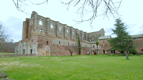 Exterior of the abbey of San Galgano in 4k Live Action