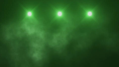 Green Triple Stage Lights and Smoke VJ Loop Background Animation