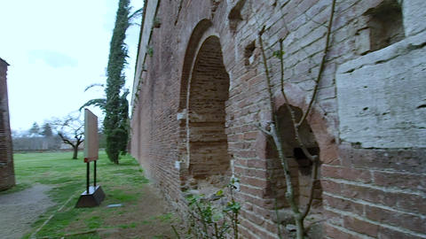 Entrance of the Abbey of San Galgano in 4k Live Action