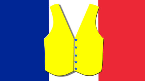 protests of people in yellow vests in France Animation