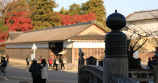 Symbol on the bridge at traditional downtown in Hikone Shiga Footage
