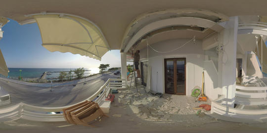 360 VR Repair at the balcony overlooking sea and port. Nea Kallikratia, Greece Footage