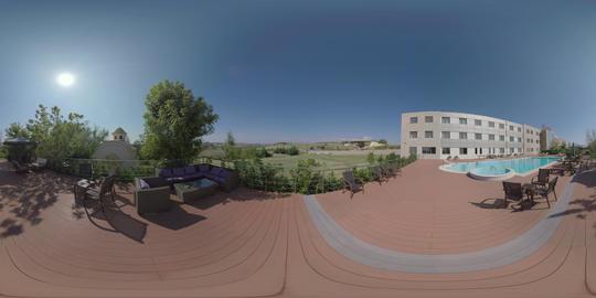 360 VR Evexia Rehabilitation Center with outdoor pool. Nea Kallikratia, Greece ビデオ