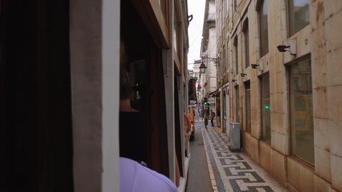 Lisbon, Portugal passenger POV from historic tram 28 Live Action