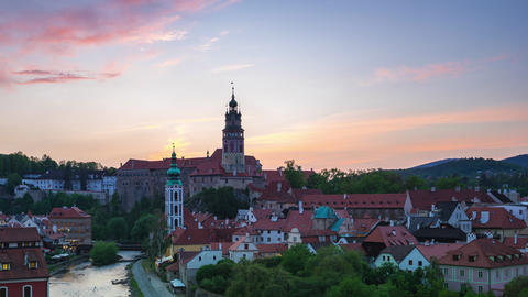 Twilight in Cesky Krumlov skyline time lapse in Czech Republic Live Action