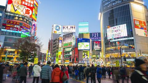 Shibuya Crossing landmark in Tokyo, Japan Footage