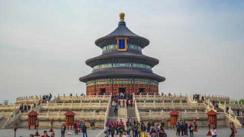 Temple of Heaven time lapse in Beijing city, China Live Action