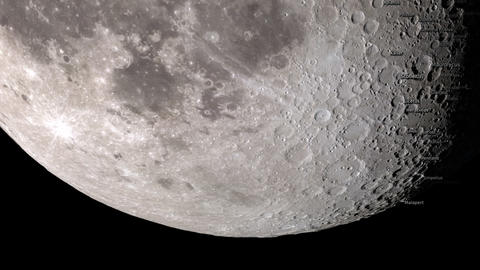 Close up of the Moon phases with craters names. Elements of this image furnished Animation