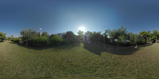 360 VR Chapel in green garden at Trikorfo Beach resort, Greece Footage