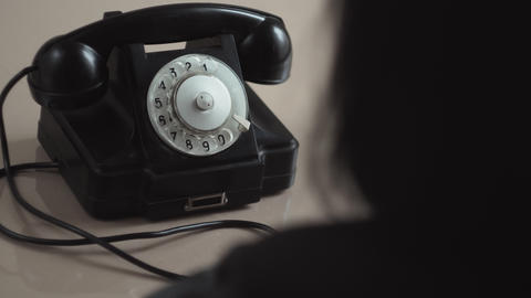 Young Woman Dial On Old Rotary Telephone Footage