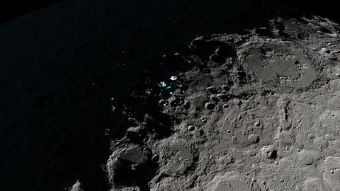 Animation of the presence of surface water ice in craters... Stock Video Footage