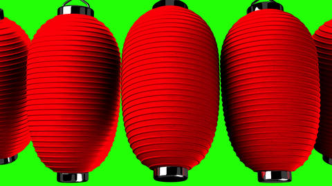 Red paper lantern on green chroma key CG動画