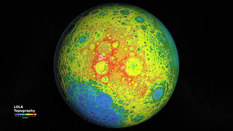 Seamless Animation of the elevation topography of the Moon. LOLA topographic Animation