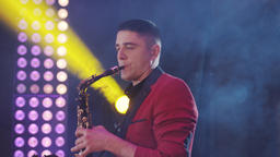 Saxophonist play on golden saxophone. Live performance. Jazz music Live Action