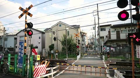 japan railroad crossing Footage