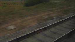 Train on Rails window view Footage