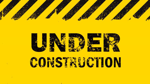 Yellow background with under construction sign Animation
