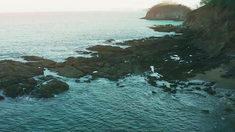 Aerial shot of a Costa Rica Beach in the Guanacaste Province Live Action