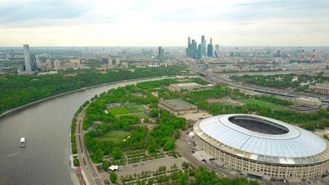 Moscow cityscape involving Luzhniki football stadium and distant business center ビデオ