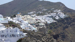 Greece Aegean Sea Cyclades Santorini view from Oia to Fira on volcano Footage