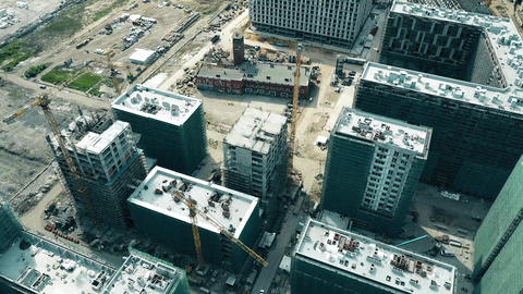 MOSCOW, RUSSIA - MAY, 24, 2017. Aerial time lapse of modern apartment buildings Footage